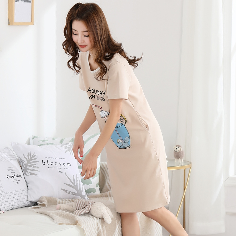 880869b29ed5 Cotton pajamas female summer Korean fresh students cute loose sweet  pregnant women can wear nightdress ladies summer