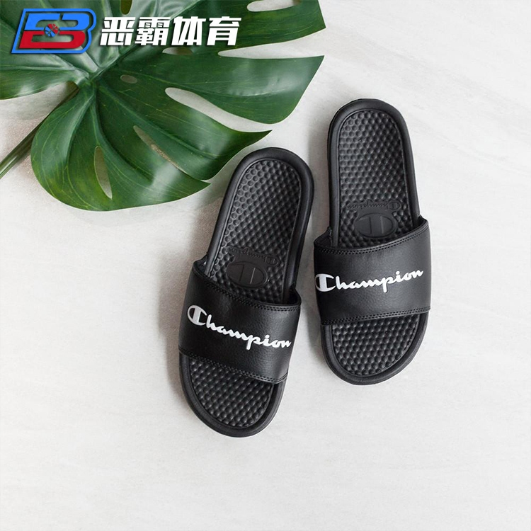 920416ecf873c4 Bully Sports Champion Champion Slippers Sandals Genuine Men and women  couples black and white powder text