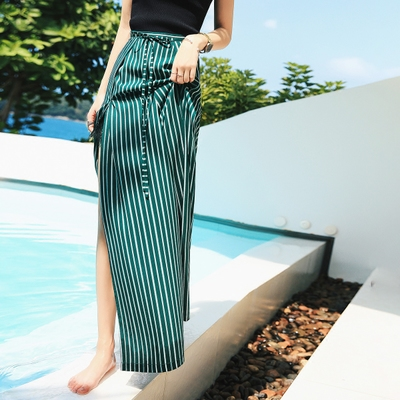 Seven princess high waist wide leg pants female loose spring and summer clothes new casual pants striped drape split