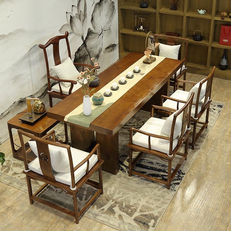 仿古功夫茶桌中式实木茶台复古茶几定制禅意接待室创意茶桌椅组合