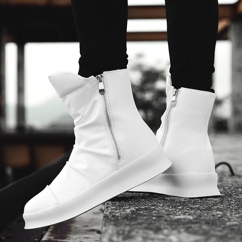 英伦风百搭中筒切尔西马丁靴子男士休闲韩版潮流小白色高帮板鞋子