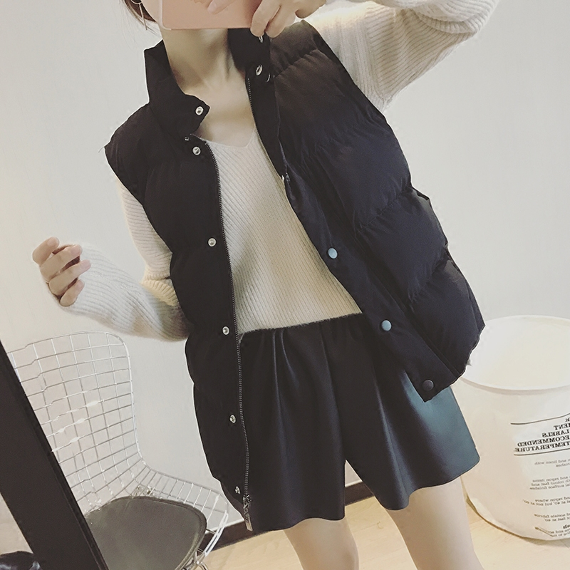Женская жилетка 2016 новой корейской версии рукавов пальто жилет зимой потерять толстый хлеб осень/зима пальто короткий жилет женщины