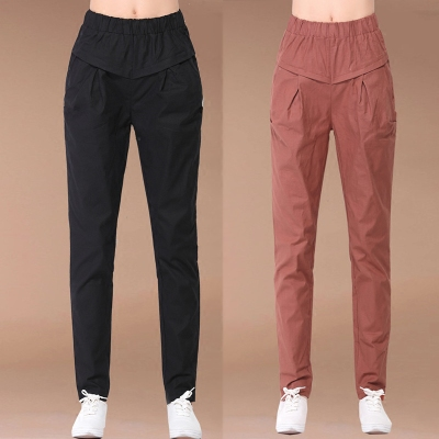 Cotton nine pants women loose waist Korean version of the pants wild casual pants feet pants linen harem pants women summer