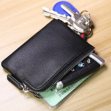 Multifunctional men's leather zipper ultra-thin small wallet cowhide mini coin purse women's card case car key case