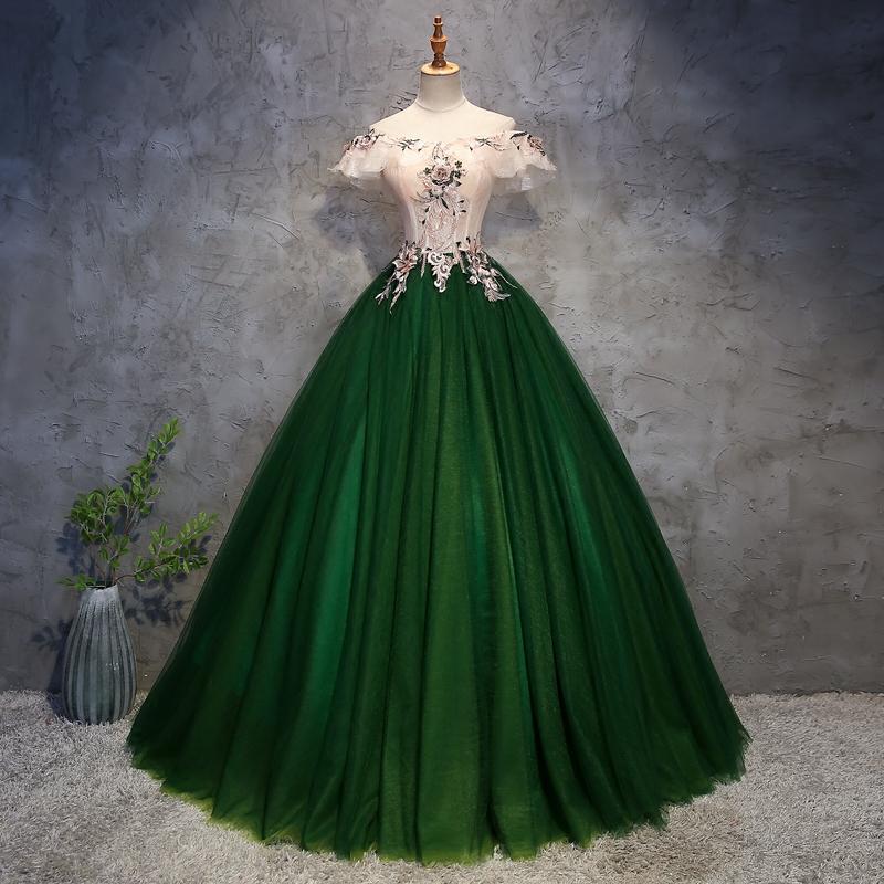 晚礼服新长款绿色艺考舞台美声独唱主持蓬蓬裙一字肩演出礼服女瘦
