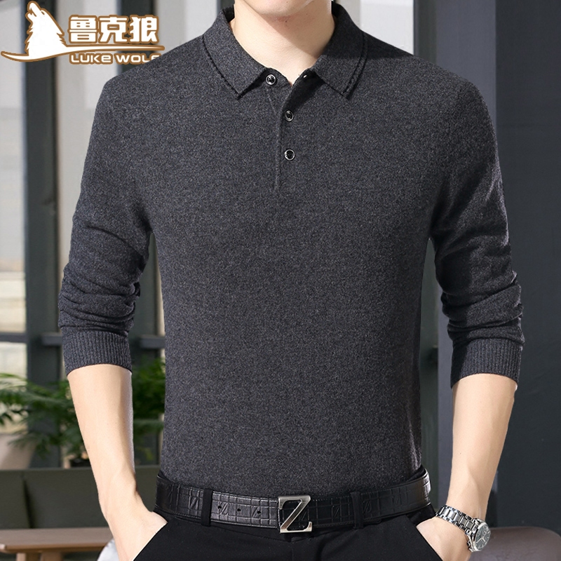 Mùa xuân tinh khiết áo len trung niên áo sơ mi cổ áo t-shirt 40-50 tuổi cha dài tay 丅 áo len nam áo len mỏng