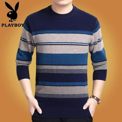 Autumn and winter sweater men's round neck hedging sweater men's middle-aged 100% pure wool knit shirt dad