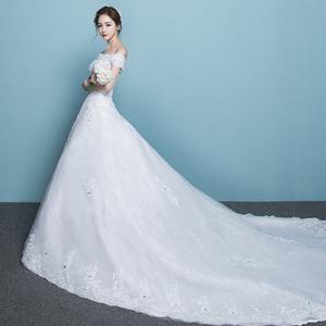 一字肩长拖尾婚纱礼服新款新娘结婚公主梦幻韩版齐地显瘦简约