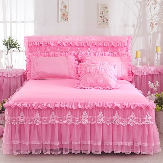 Korean version of the lace Princess bed skirt bed cover single piece bed cover bed set lace anti-slip bed 笠 1.8m mattress cover