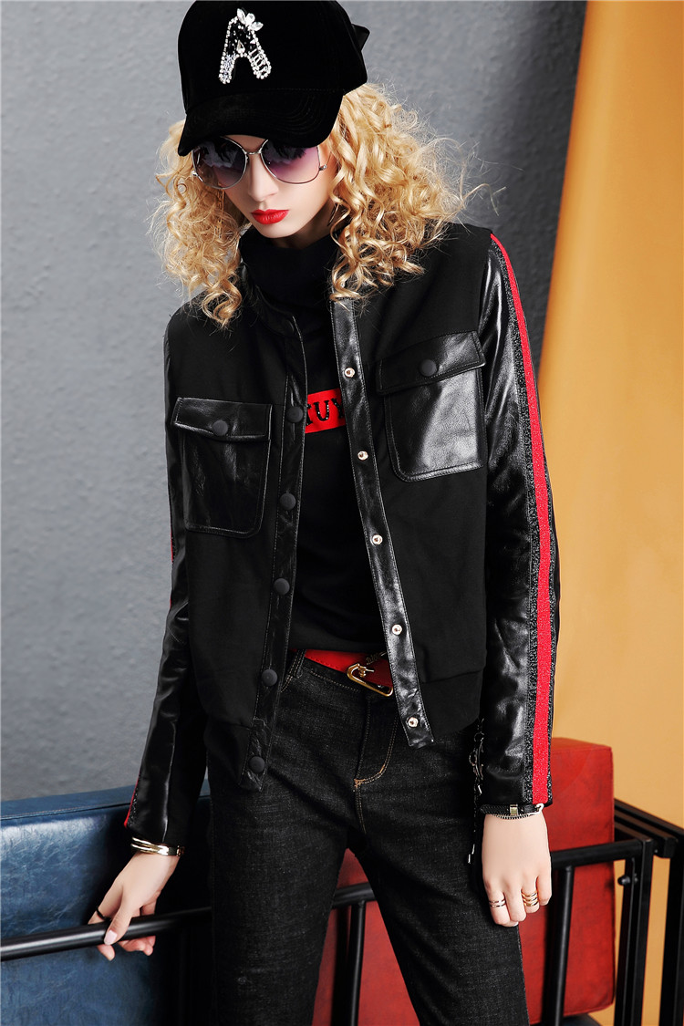 Europe Station 2020 autumn/winter new fashion leather long-sleeved slim jacket solid color jacket women's top tide I386 29 Online shopping Bangladesh