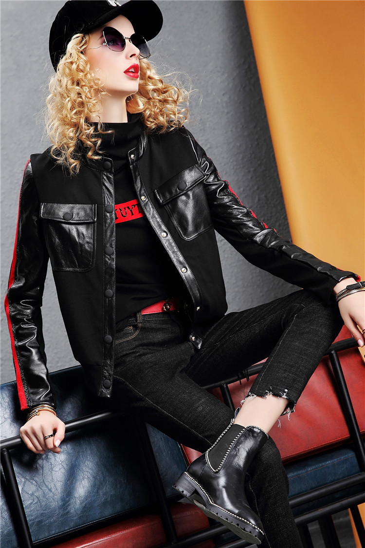 Europe Station 2020 autumn/winter new fashion leather long-sleeved slim jacket solid color jacket women's top tide I386 31 Online shopping Bangladesh