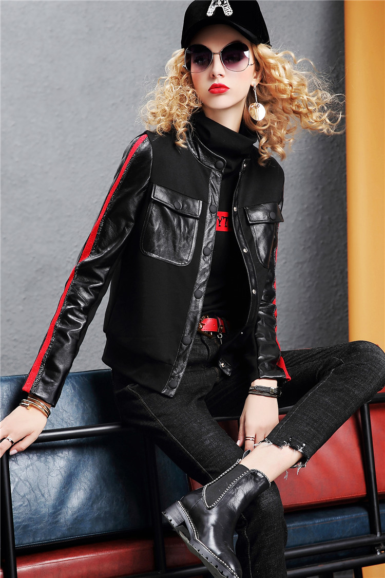 Europe Station 2020 autumn/winter new fashion leather long-sleeved slim jacket solid color jacket women's top tide I386 30 Online shopping Bangladesh