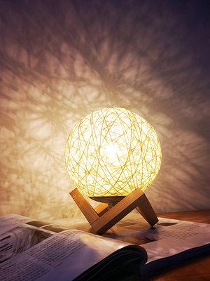 创意小夜灯节能插电睡眠北欧ins少女台灯卧室床头月球星空投影灯