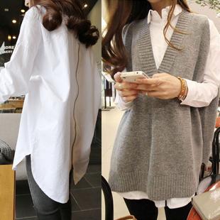 秋季白色衬衫女中长款宽松长袖衬衣2020新款韩版设计感小众bf上衣