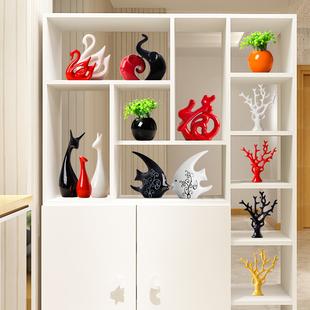 家居装饰品创意小摆件现代电视红酒柜玄关客厅陶瓷简约工艺品天鹅