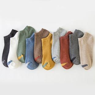 袜子男士夏季薄款纯棉底短袜运动吸汗防臭船袜低帮短筒中筒ins潮