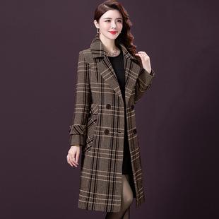 高端双面羊绒大衣女中长款修身气质妈妈格子毛呢外套女加厚阔太太