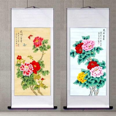 。新中式中央美院凌雪纯手绘国画牡丹花鸟客厅沙发餐厅玄关挂画装