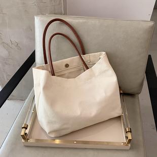 韩版大容量慵懒风ins手拎单肩包环保购物袋简约文艺帆布包书包女