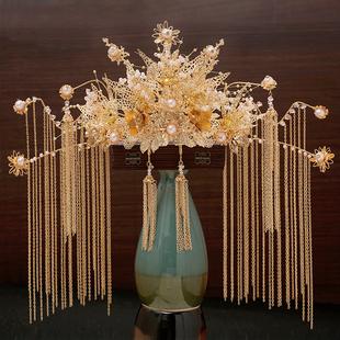 2020新款金色秀禾头饰新娘凤冠秀和服配饰中式婚礼秀禾服古装发饰
