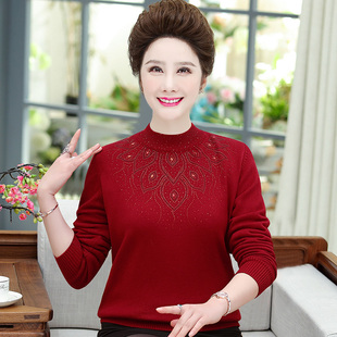 中老年人女装妈妈秋冬装毛衣加绒加厚打底衫中年保暖2020新款上衣