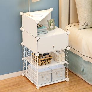 床头柜家用房间塑料多层零食储物柜自由组合置物架省空间收纳柜子