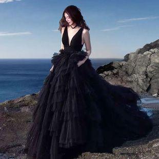 2021展会新款影楼主题服装外景旅拍婚纱摄影写真黑色拖尾拍照礼服
