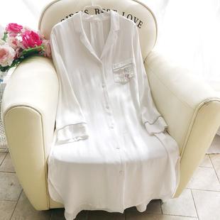 棉绸白色衬衫睡裙女春夏轻薄简约家居服性感长袖开衫中长款空调房