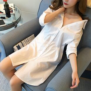 白色衬衫女长袖中长款韩版2021新款BF性感衬衣宽松大码打底睡衣风