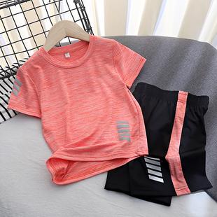 男童运动套装童装薄中大童速干短袖短裤两件套儿童夏装女童t恤潮
