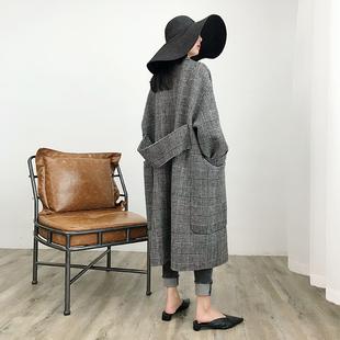 格子大口袋双面羊绒大衣女冬季新oversize茧型中长款毛呢外套