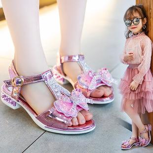 夏季新款2021女童凉鞋女孩可爱时尚公主鞋潮流学生蝴蝶结舞蹈鞋子