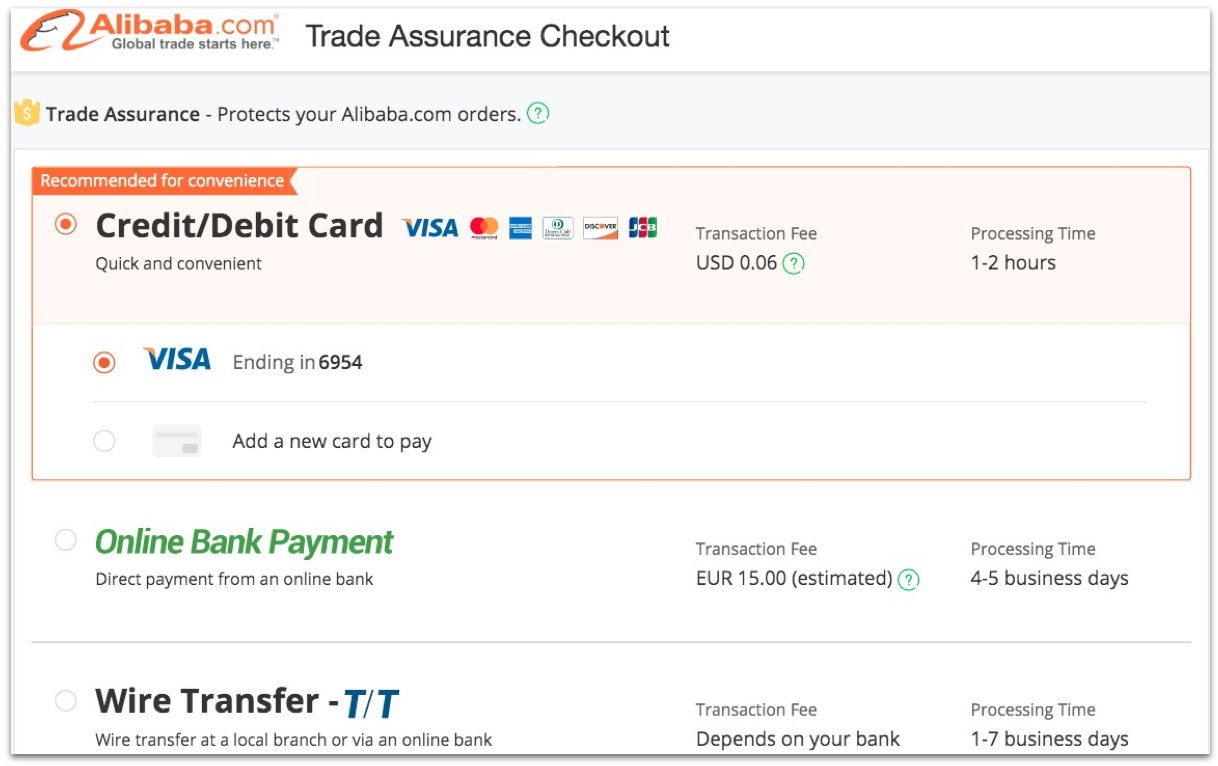 Initial Payment Alibaba