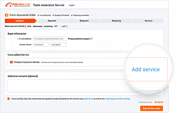 After placing a Trading Assurance order, you can add an inspection service to your order by selecting an inspector before making the initial payment.