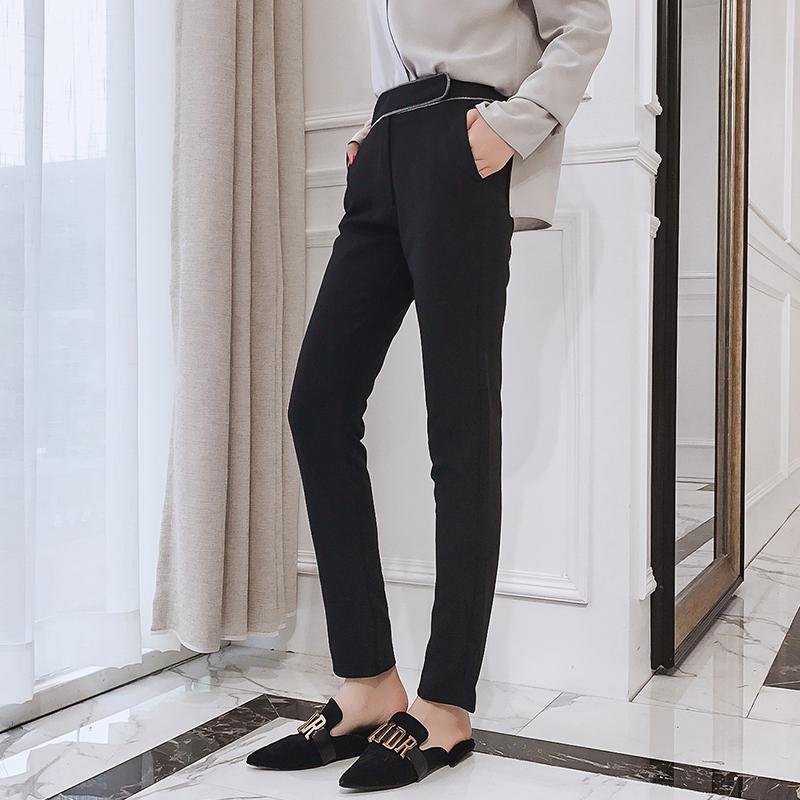大英自制 裤子2017新款女韩版百搭宽松显瘦休闲裤黑色长裤秋冬