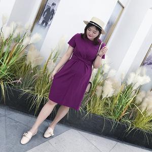 汐悠姿大码软妹女装200斤宽松显瘦短袖裙子女胖仙女绑带连衣裙061