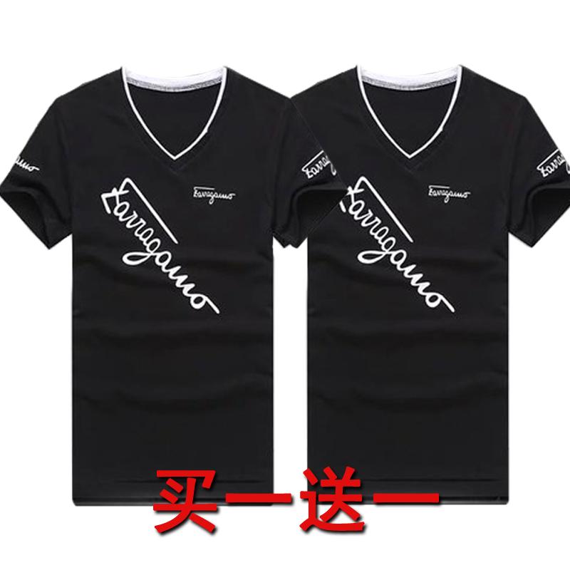 包邮9.9元九块九男装V领修身潮流韩版T恤短袖男青少年9块特价10元
