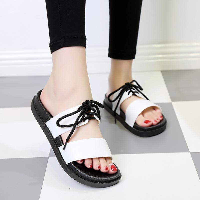 2018夏季新款大码女鞋40孕妇平底防滑凉拖41加肥42加宽43脚肿拖鞋