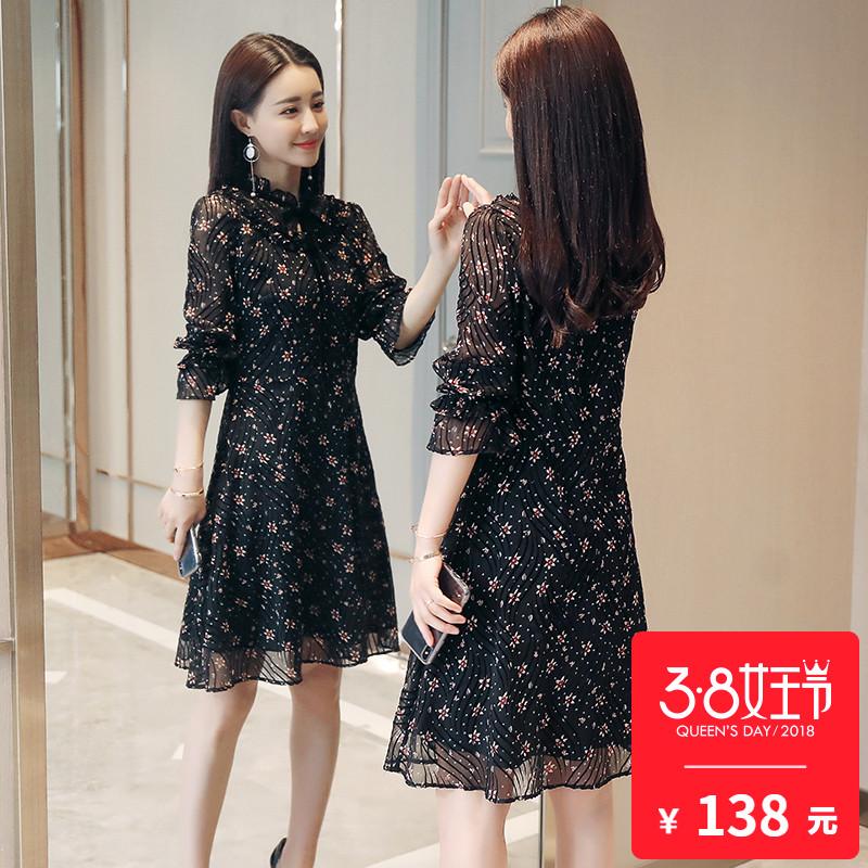 碎花雪纺连衣裙流行女装2018春装新款时尚气质韩版春款长袖裙子潮