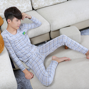 新款男孩青少年棉秋衣秋裤套装大童初中高中学生薄款保暖内衣