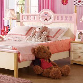 儿童床女孩 公主床1.5单人床粉色美式乡村小孩床儿童家具套房组合