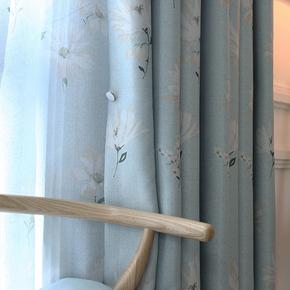 窗帘成品客厅卧室书房阳台简约现代小清新蓝色花遮光布田园风格
