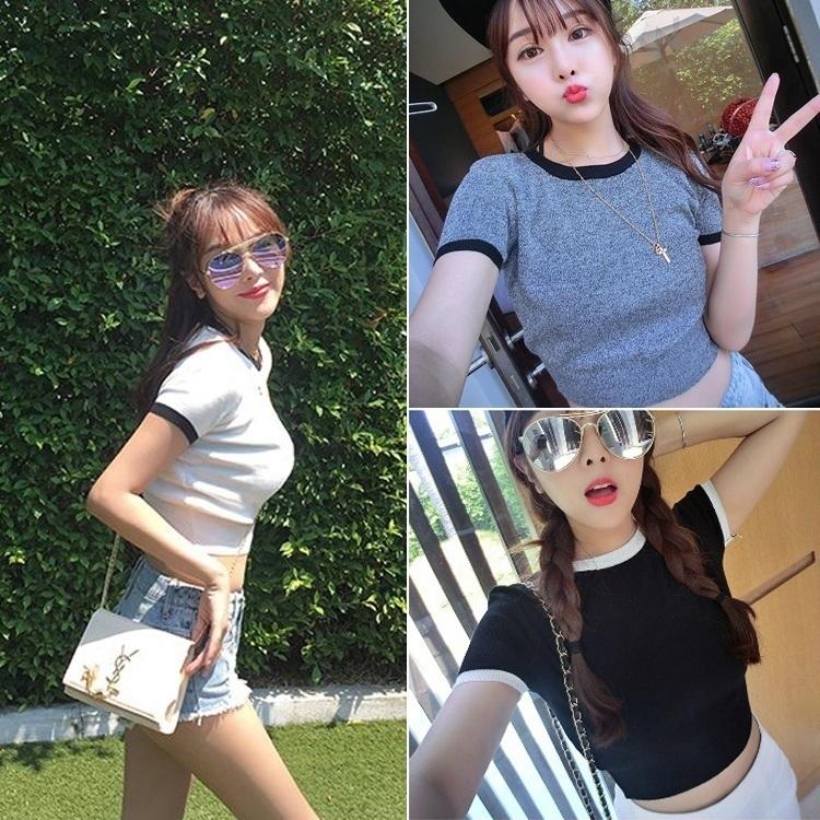 甜美可爱t恤女短裤针织衫韩版女潮少女圆领短袖气质性感百搭上衣