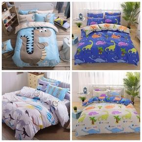全棉床上三件套纯棉恐龙被套儿童男孩15米18m床4四件套儿童卡通