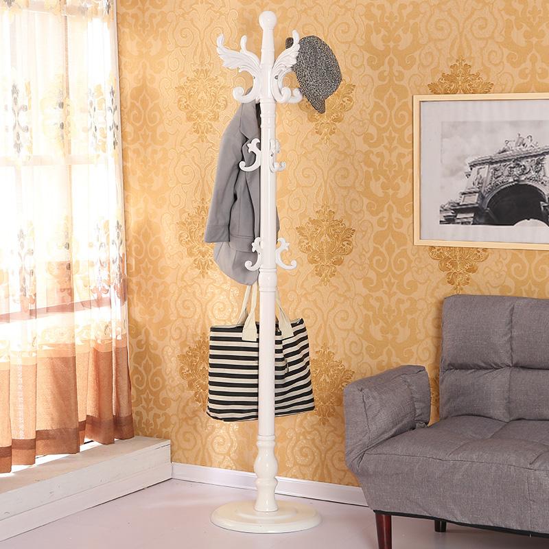 赛美 实木衣帽架欧式落地挂衣架卧室门厅衣服架子客厅时尚简约架