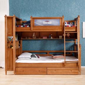 新品美式乡村纯实木高低床子母床双层床儿童房床上下床书柜组母子