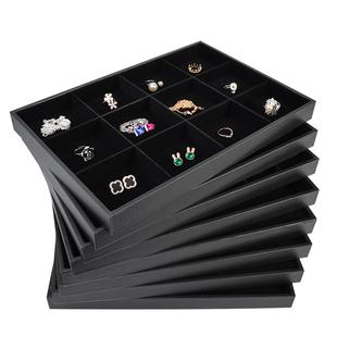 简约置物架玉器绒面戒指盘绒布首饰展示收纳盒多功能耳环盒托盘