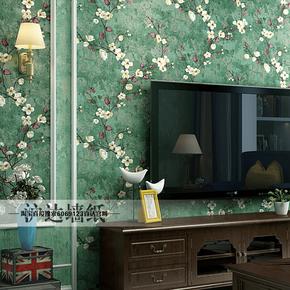 美式田园墙纸卧室复古怀旧乡村风格墨绿色客厅ab版电视背景墙壁纸