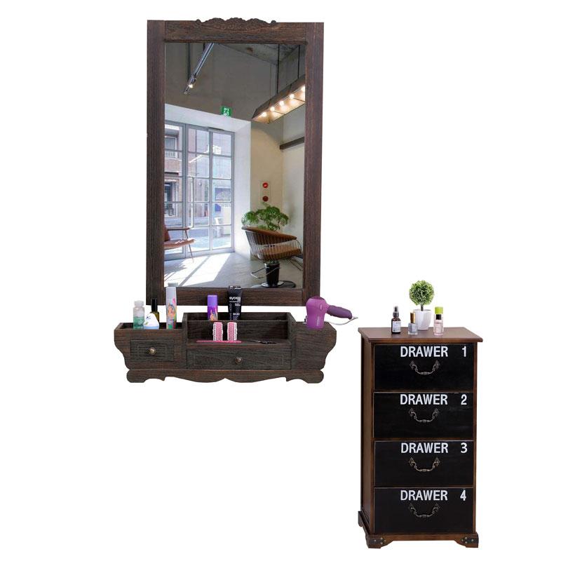 实木美发镜台抽屉式单面壁挂式镜子复古做旧化妆台发廊理发店镜台