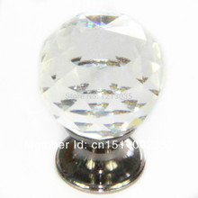 Pull Glass Handle Dra 10pcs Cabinet Round Crystal 30mm Clear